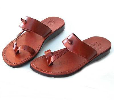 Brown Unisex Flip Flops - Jerusalem Biblical Jesus Sandals Brown Leather Flip-Flops Handmade Unisex Sandal