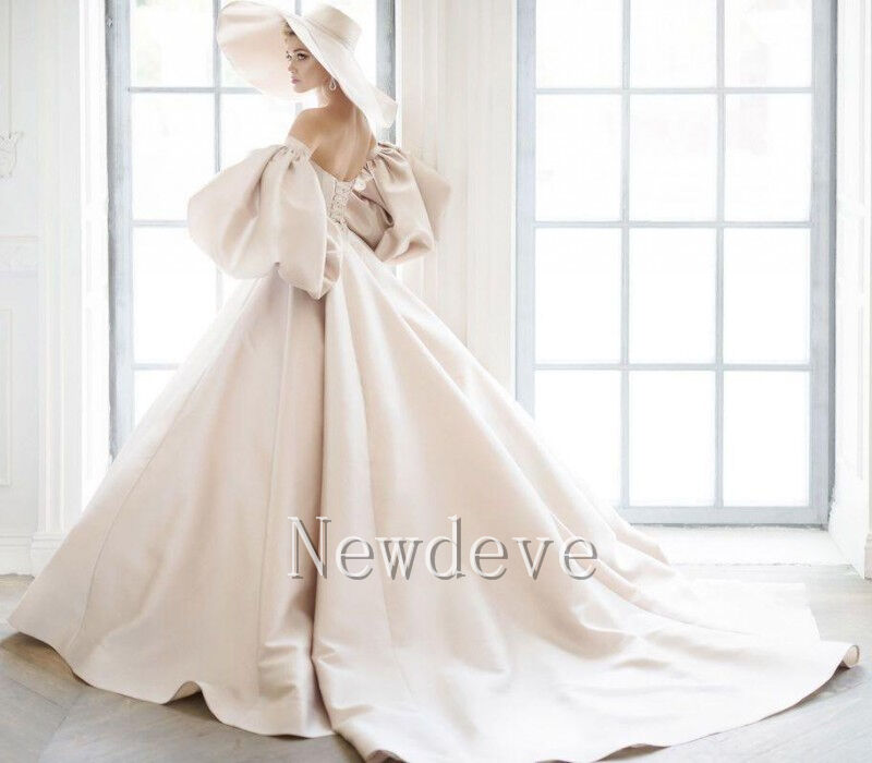 Antique Wedding Dresses Vintage Bridal Ball Gowns White/Ivory Puff ...