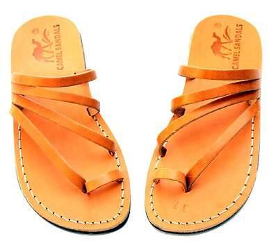 Jerusalem Biblical Sandals Caramel Brown Black Leather Strap Flip Flops Women