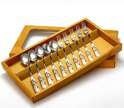 Odelia Stainless Steel Porcelain Flatware Teaspoon Fork Set 10 Pcs Gift Box