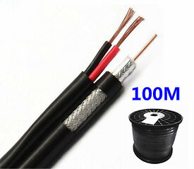 New 100M RG59 Coaxial & 2 Core Power CCTV Video Cable Shotgun Security Camera DVR Monitor