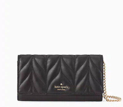 🌸Kate Spade Briar Lane Quilted Milou Chain Wallet Clutch black Bag