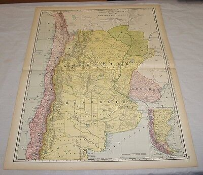 1904 Rand McNally COLOR MAP of ARGENTINA, PARAGUAY, URUGUAY, CHILE/21x27.5