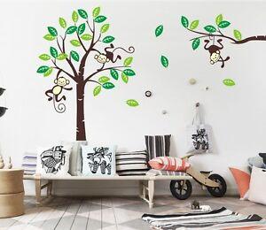 Giraffe-Monkey-Tree-Wall-Art-Stickers-Kids-Nursery-Vinyl-Decal-removable-X-large