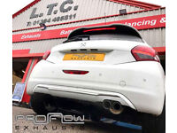 Peugeot 208 with Proflow Exhausts Back Box and Twin Tip Tailpipe