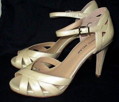 Pretty *ANTONIO MELANI* Cream Metallic Patent Leather,Peep Toe,4