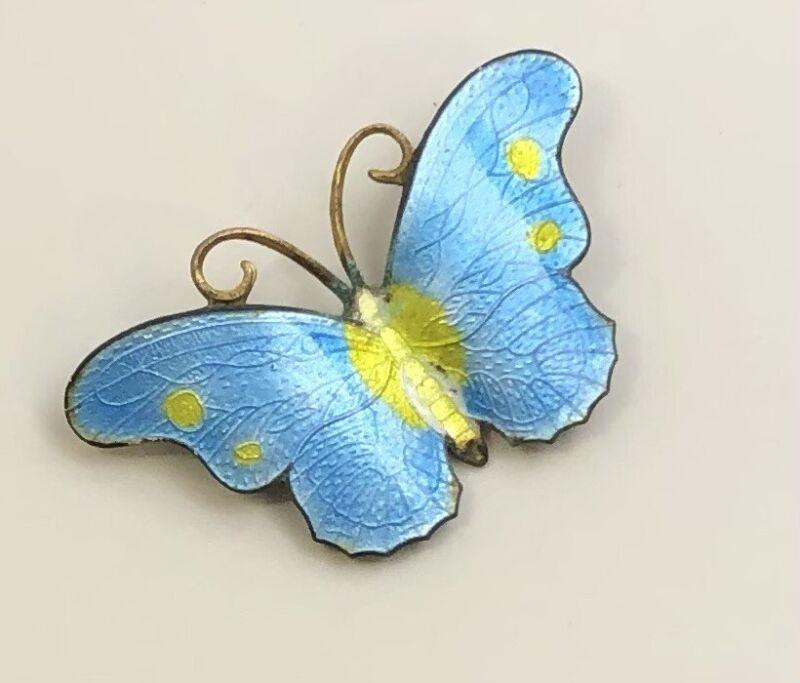 Unique vintage Guilloche  butterfly brooch In enamel on gold tone enamel .
