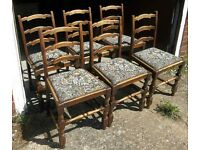 Set Of Six Vintage Oak Dining Chairs With Drop-Out Seats Shabby-Chic Paint Project
