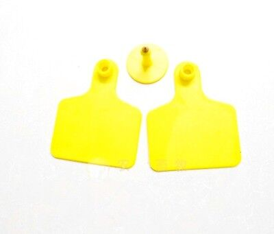 10sets New Yellow 5040mm Sheep Goat Hog Beef Cow Ear Blank Tag Lable
