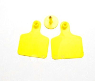 50sets New Yellow 5040mm Sheep Goat Hog Beef Cow Ear Blank Tag Lable