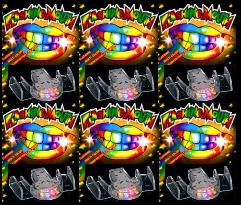 24 PACK Flashing Mouth Piece Guard Light Up Teeth LED Party