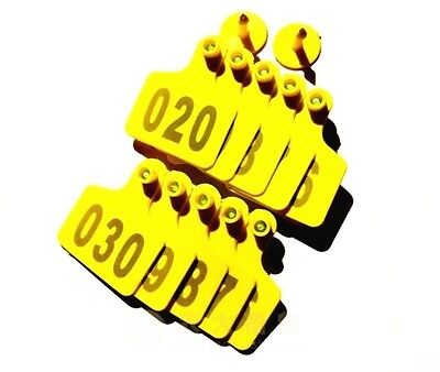 100sets New Yellow 5040mm Sheep Goat Hog Beef Cow Ear Tag Lable With Number