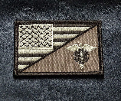 MEDIC EMT EMS USA FLAG TACTICAL COMBAT MORALE 3 INCH HOOK PATCH (MFJ1)