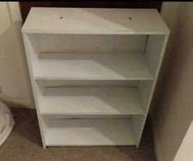 White shelving unit/ bookcase / shoes
