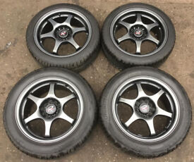 "JDM ROTA INTER MILANO RG6 ""RACING GEAR"" 16"" Alloy Wheels + Tyres 5 x 114 RARE MR2 EP3 CIVIC TYPE R"