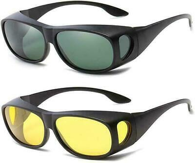 Tac HD Day Night Vision Wraparound Sunglasses For Men Driving Fits Over (Wraparound Sunglasses)