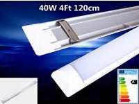 4ft 5ft 40W 50W LED Linear Batten Tube Light Slim Ceiling Lamp Surface Suspension Mount, Cool White