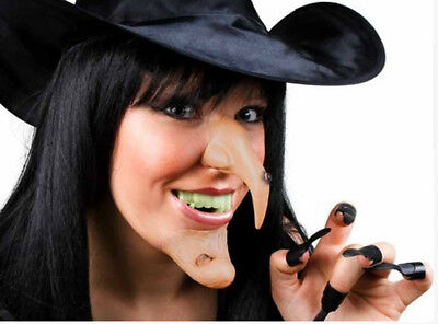Pointy Teeth Halloween (Witch Costume Accessory Set Black Hat Nose Pointy Chin Teeth Claws)