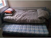 Metal single bed with trundle guest bed and mattresses