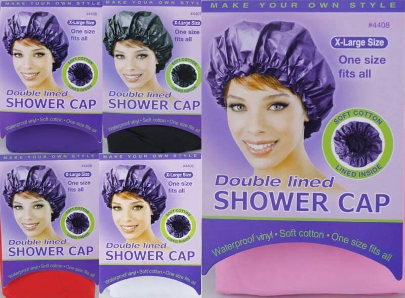 1 Piece Waterproof Shower Cap Soft Vinyl & Cotton X-Large Double Lined #4408
