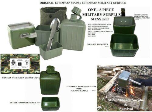 ORIGINAL YUGOSLAVIAN ARMY 8PC. MESS KIT WITH ORIG.EATING UTENSILS - USED SURPLUS