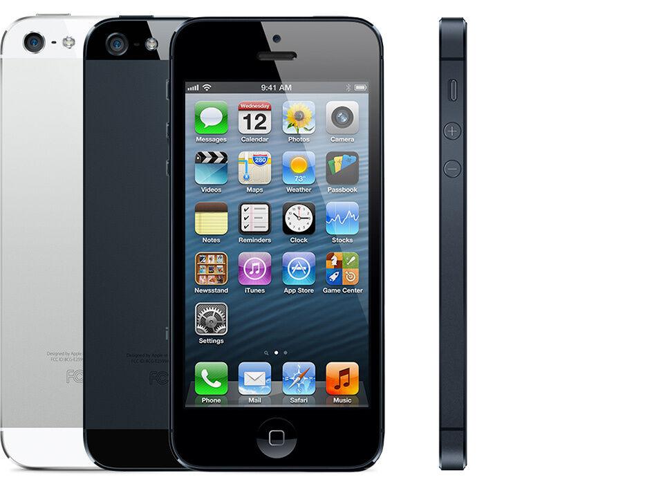 MANUFACTURER REFURBISHED APPLE IPHONE 5 - 16GB/32GB - BLACK OR WHITE - UNLOCKED/EE/VODAFONE/THREE/02