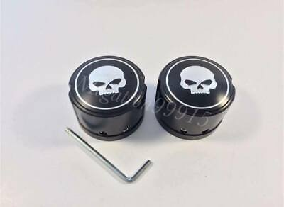 2x Motorcycle Skull Front Axle Nut Cover For Harley Touring Sportster All -