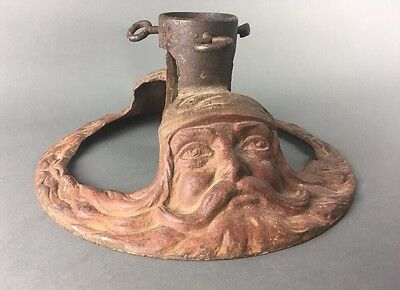 Early Antique Cast Iron Santa Christmas Tree Stand