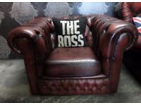 Stunning Chesterfield Low Back Club Arm Chair in Oxblood Red Leather - UK Delivery