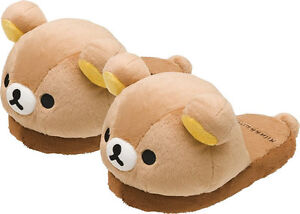 9202860a268f Official Rilakkuma SAN-x Plush slippers Soft Cute Bear Winter Slippers