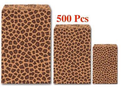 Flat Paper Bags (Wholesaling Kraft Paper Bags Leopard Print Jewelry Flat Gift Bags  500 Pc)