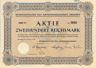 Dresden Kunstanstalten May Aktie 200 RM 1942