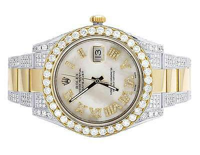 Mens Rolex Datejust II 41MM 116333 18K Two Tone White MOP Diamond Watch 15.75 Ct