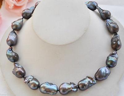"Large Fashion Natural Black Baroque Keshi Keishi Pearl Necklace 18"" AAA"