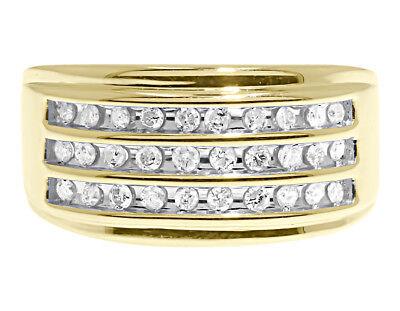 10k Gelbgold Herren 3 Reihen Rund Diamant 11.5mm Hochzeit Mode Band Ring 1/2 Ct ()