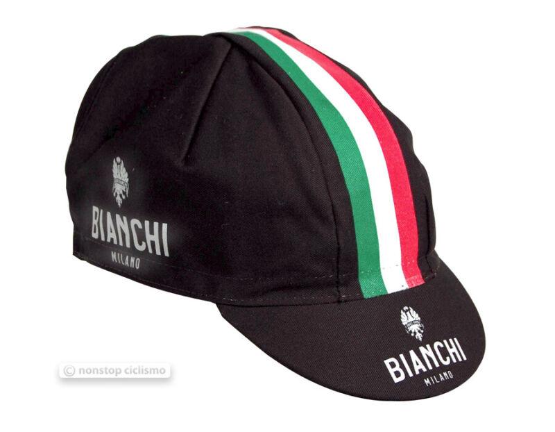 Bianchi Milano NEON Black Italia Tricolore Stripe Cycling Cap - Made in Italy!