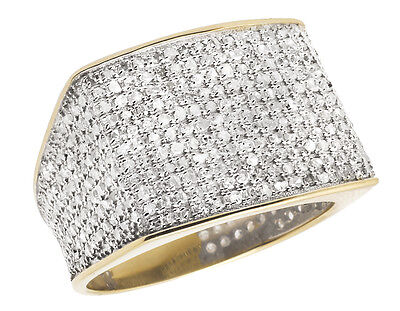 10K Yellow Gold Men's Pave Eternity Genuine Diamond Pinky Ring Band 1.4ct 14MM