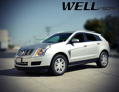 Fit 10-16 Cadillac SRX WellVisors Smoke Chrome Trim Clip-On Window Visors