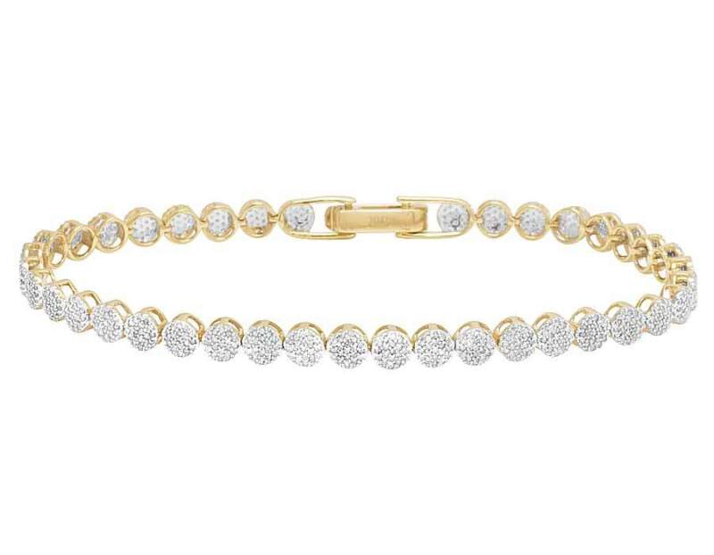 Unisex 10k Yellow Gold Genuine Diamond Round Cluster Bracelet 1 1/2 Ct 4mm 7""