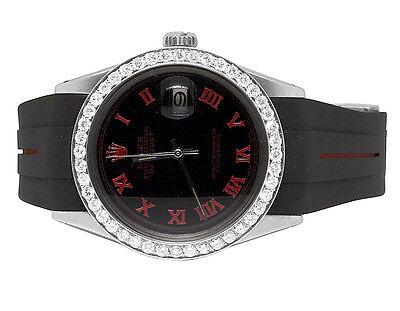 Sporty Custom Rolex Datejust Red/Black Rubber Band 36MM Diamond Watch 2.5 Ct