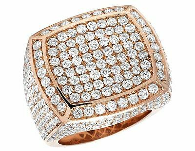 Mens 14 Rose Gold VS Diamond 3D Square Wedding Fashion Pinky Ring 25mm 8 2/3 Ct