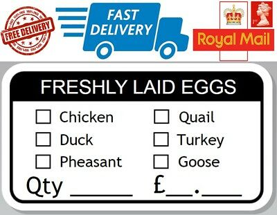 48 x Freshly Laid Egg Box Stickers Hen Chicken Quail Duck Pheasant Turkey Goose for sale  Shipping to Ireland