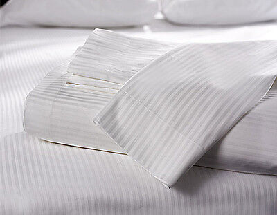 Pack of 2 Luxury Satin Stripe Flat Sheets 2 Pack Flat Sheets