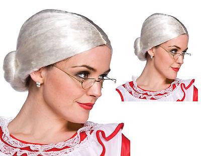Silber Weiß Oma Kurze Perücke Alte Frau Mrs Weihnachtsmann Kostüm