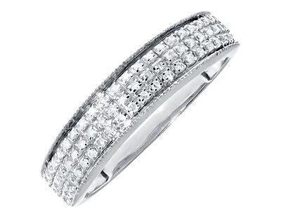 10k White Gold Mens Three Row Pave Round Diamond 5mm Wedding Band Ring 0.26 ct