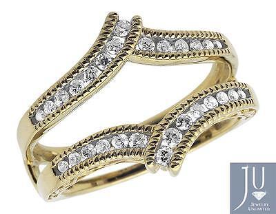 Oro Amarillo Miligrano Diamante Protector Compromiso Alianza Envolvente .34CT