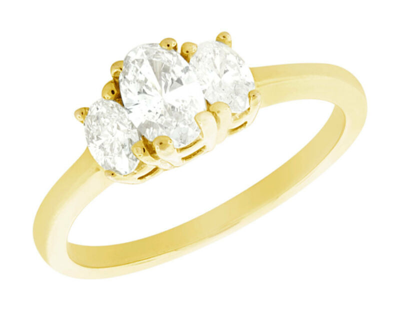 Genuine 1.00ct Oval Cut Diamond 3stone Engagement Ring 18k Gold