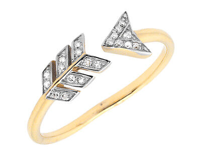 14k Yellow Gold Wrap-Around Arrow Style Diamond Fashion Cocktail Ring (0.10ct)