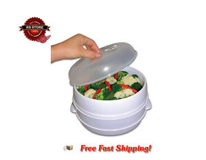 Microwave Steamer 2-Tier Food Cooker Vegetables Steam Fish Rice Kitchen Cookware
