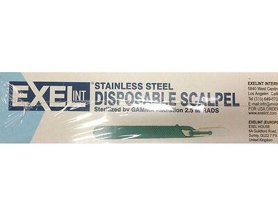 10 Exel Disposable Sterile Stainless Steel Surgical Scalpels W Handle Sz 11